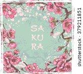 spring sakura card . cropped... | Shutterstock .eps vector #379211851
