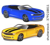 yellow and blue sports car....