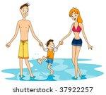 Family at the Beach - Vector - stock vector