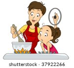 Daughter looking at her mother cooking - Vector - stock vector