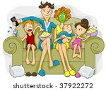 Family on a Sofa watching TV - Vector - stock vector