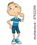 kid thinking   vector | Shutterstock .eps vector #37922290