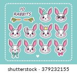 Set 10 Sticker Rabbit With...
