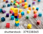 colorful wooden building blocks.... | Shutterstock . vector #379238365