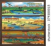 prehistoric theme vector banner ...   Shutterstock .eps vector #379300015