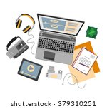 top view of workplace with... | Shutterstock .eps vector #379310251