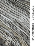 Natural striped rock in Porthleven, Cornwall UK. - stock photo