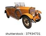 Old Veteran Yellow Car Isolate...