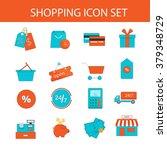 shopping icon set. vector... | Shutterstock .eps vector #379348729