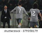 Small photo of ROME, ITALY-FEBRUARY 2016 : Ronaldo score the goal in football match of Uefa Champions League last-16 between A.s. Roma vs Real Madrid at the Olimpic Stadium on Februry 17, 2016 in Rome