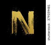 gold glittering letter n in... | Shutterstock .eps vector #379359481