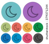 color moon flat icon set on...