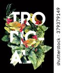 tropical print with text and... | Shutterstock . vector #379379149