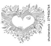 coloring page flower heart st... | Shutterstock . vector #379406764