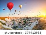 hot air balloons flying over... | Shutterstock . vector #379413985