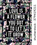 floral ditsy print with slogan | Shutterstock . vector #379419211