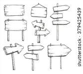 Sketch Set Of Wooden Signposts...