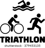 Triathlon Icons With Word