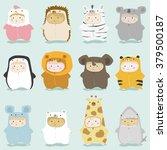 set of kids in cute animal... | Shutterstock .eps vector #379500187