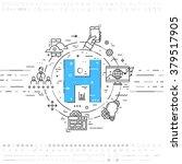 alphabet letter h. flat style ... | Shutterstock .eps vector #379517905