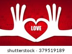 heart of two linked hands with... | Shutterstock .eps vector #379519189