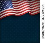wavy usa national flag on blue... | Shutterstock .eps vector #379526914