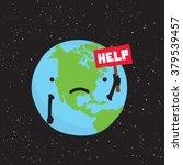 planet earth need help cartoon... | Shutterstock .eps vector #379539457