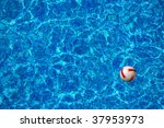 beach ball floating in the blue ... | Shutterstock . vector #37953973