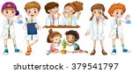 boys and girls in science gown... | Shutterstock .eps vector #379541797