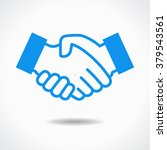 handshake icon. blue icon on... | Shutterstock .eps vector #379543561
