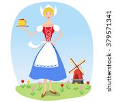 dutch woman in traditional... | Shutterstock .eps vector #379571341