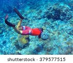 snorkeler and coral reef.... | Shutterstock . vector #379577515