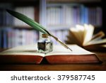 quill pen and ink well resting... | Shutterstock . vector #379587745