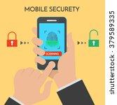 mobile security concept. vector ... | Shutterstock .eps vector #379589335