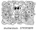 doodle magical forest and owl. | Shutterstock .eps vector #379595899