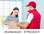 delivery service worker in... | Shutterstock . vector #379616215