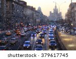 snow in the city night traffic... | Shutterstock . vector #379617745