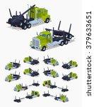 folded log truck. 3d lowpoly... | Shutterstock .eps vector #379633651