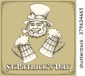 leprechaun with smoking pipe... | Shutterstock .eps vector #379634665