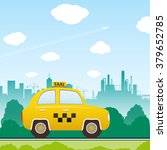 car taxi on city background.... | Shutterstock .eps vector #379652785