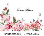 beautiful watercolor card with... | Shutterstock . vector #379662817