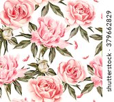 watercolor pattern with flowers ... | Shutterstock . vector #379662829