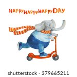 Elephant On Scooter. Happy Day. ...