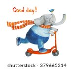 elephant on scooter with bird.... | Shutterstock . vector #379665214