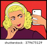 woman doing selfie by the... | Shutterstock .eps vector #379675129