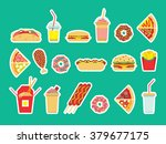 fast food set. vector fast food ... | Shutterstock .eps vector #379677175