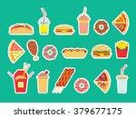 fast food set. vector fast food ... | Shutterstock .eps vector #379677175
