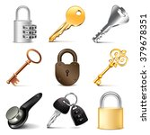 Keys And Locks Icons Detailed...