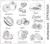 exotic fruits  mangosteen ... | Shutterstock .eps vector #379701565