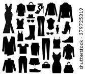 silhouettes set of clothes | Shutterstock .eps vector #379725319